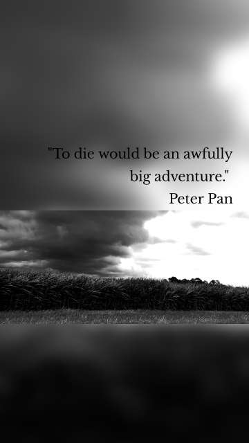 """""""To die would be an awfully big adventure."""" Peter Pan"""