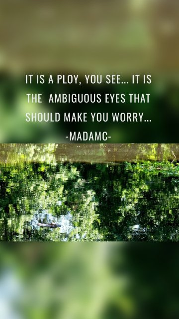 It is a ploy, you see... It is the ambiguous eyes that should make you worry... -Madamc-
